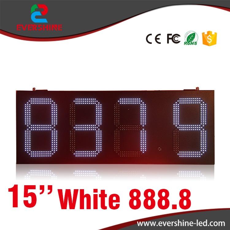 Gas station LED digital 15'' number price display led sign board white display led display 1 sign red digit number board indoor led exchange rate board language for kazakhstan