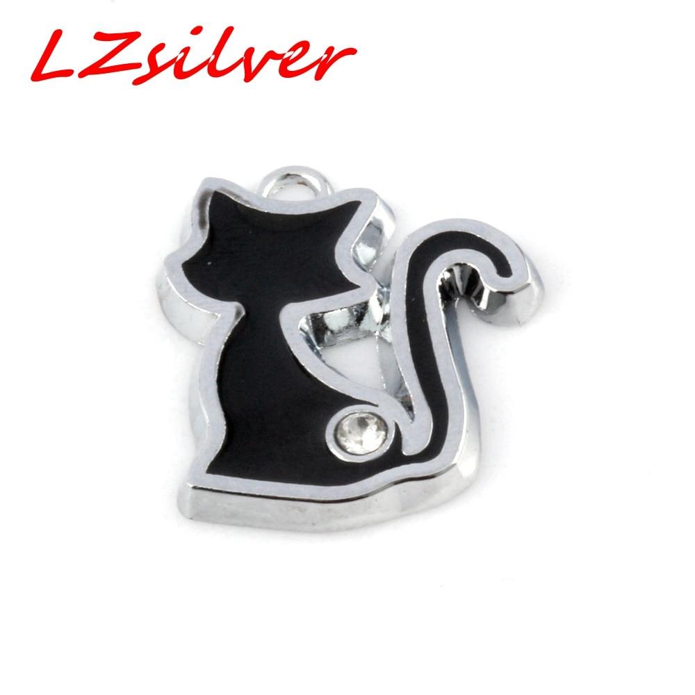 Hot !  5 pcs Black Enamel Cat Charm Pendant DIY Jewelry 20 X 23 MM CV104