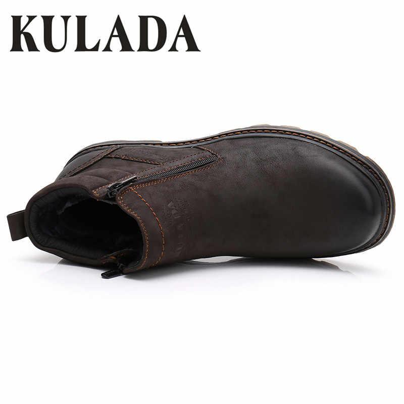 KULADA Hoge Kwaliteit Winter Laarzen Mannen Koe Suede Enkellaarsjes Handgemaakte Outdoor Werkende Laarzen Vintage Stijl Mannen Warm Verdorren Schoenen