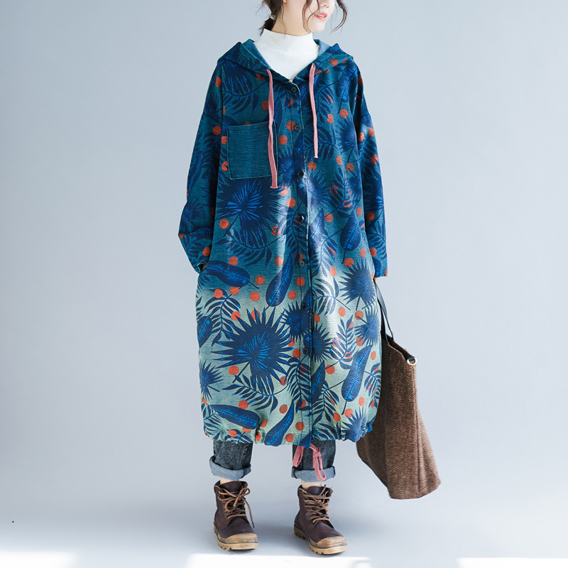 Oversized Knitted cowboy Coat Women Printed plus size Hooded Trench Long denim Boho Outwear with hood