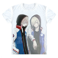 Jurij na Lodzie Yuri Plisetsky Cosplay T Shirt Yuri!!! na Lodzie Kostium Anime Koszulka Gorąca Sprzedaż krótkie Kreskówki Rękawa Unisex tshirt