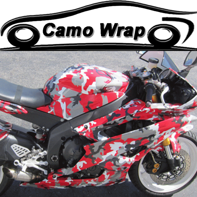 Orino red camo vinyl car wrap adhesive camouflage film for motorcycle scooter vehicle diy decal printed