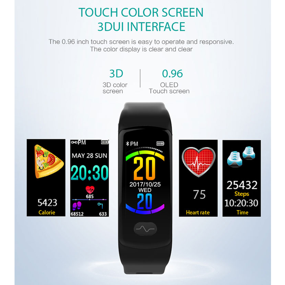 Smart Bracelet Heart Rate Monitor Fitness Tracker Smart Wristband ECG PPG Blood Pressure Smart Band Watch for IOS Android-in Smart Wristbands from Consumer Electronics    2
