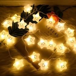 LED Smiley światło serca gwiazdy urocze oświetlenie String pokój dziewczyn lampa serce lampy dla domu dekoracyjne światełka dekoracyjne na boże narodzenie noc w Girlandy świetlne od Lampy i oświetlenie na