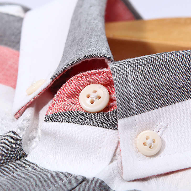 Camisas de verano de lino de algodón de marca Langmeng ajustadas informales de manga corta a rayas camisa de vestir de hombre Social camisas de vestir chemise homme