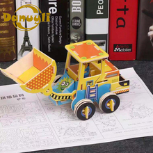 1pcs 3D three-dimensional engineering car puzzle imposition early education wooden toy creative manual DIY assembled toys