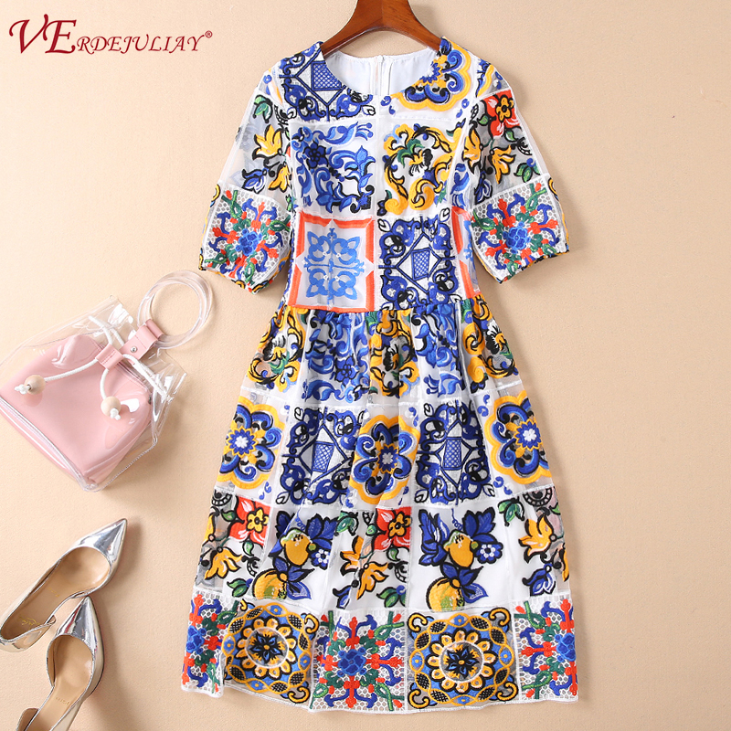 Street Women Runway Dress 2019 Fashion Flowers Print Mid Calf Slim Mesh Hollow Out European Blue