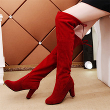 Size 34-43 2019 New Shoes Women Boots Black Over the Knee Boots Sexy Female Autumn Winter lady Thigh High Boots 2018 new shoes women boots black over the knee boots sexy female autumn winter lady elastic mesh thigh high boots size 35 39