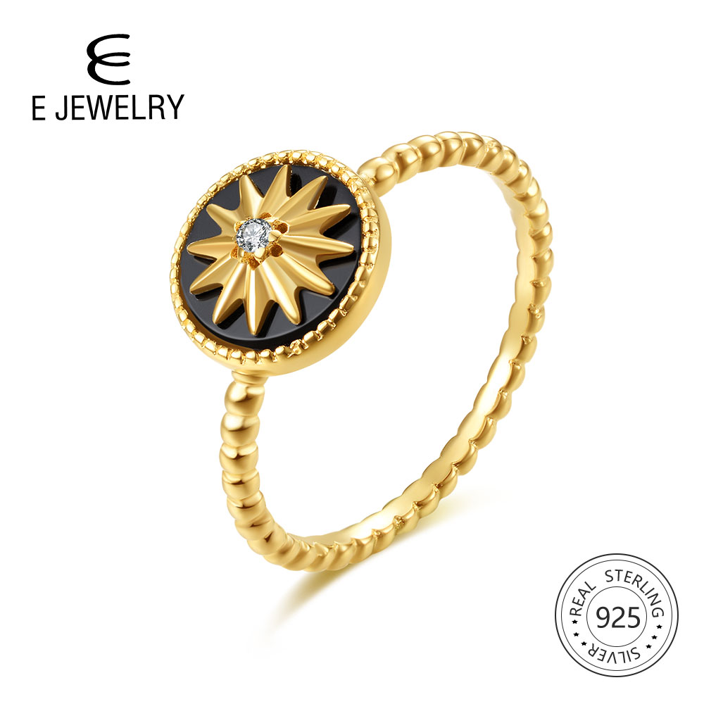 E Jewelry 100% 925 Sterling Silver Star Rings For Women 18K Gold Plated Silver Black Agate Gemstone Ring Fashion Jewellery 2019