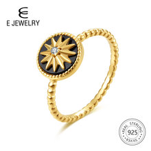 E Jewelry 100% 925 Sterling Silver Star Rings for Women 18K Gold Plated Black Agate Gemstone Ring Fashion Jewellery 2019