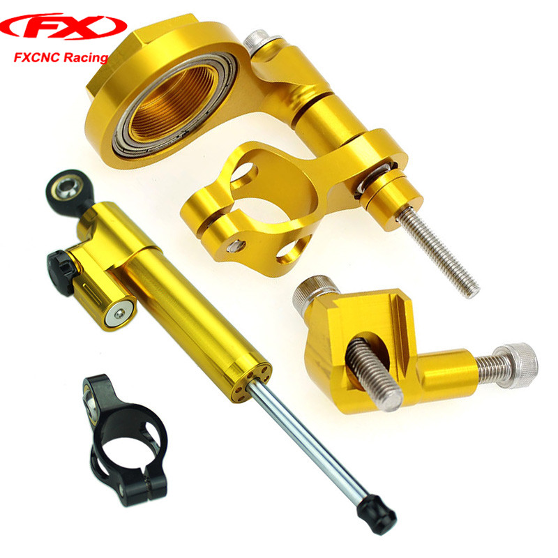 FXCNC Gold Motorcycle Steering Damper Mounting Stabilizer with Brackets for Yamaha YZF R6 2006-2015 2007 2008 2009 (for Yamaha) fxcnc motorcycle steering stabilizer damper mounting brackets for yamaha fz1 fazer 2006 2015 2007 2008 2009 2010 for yamaha