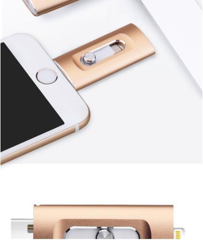 Nieuwe iOS USB Flash Drive 3 in 1 OTG USB Flash Drive 32 GB/64 GB/128 GB /256 GB Pendrive Metalen Pen Drive 64 GB voor iPhone X/8/7/6 Plus