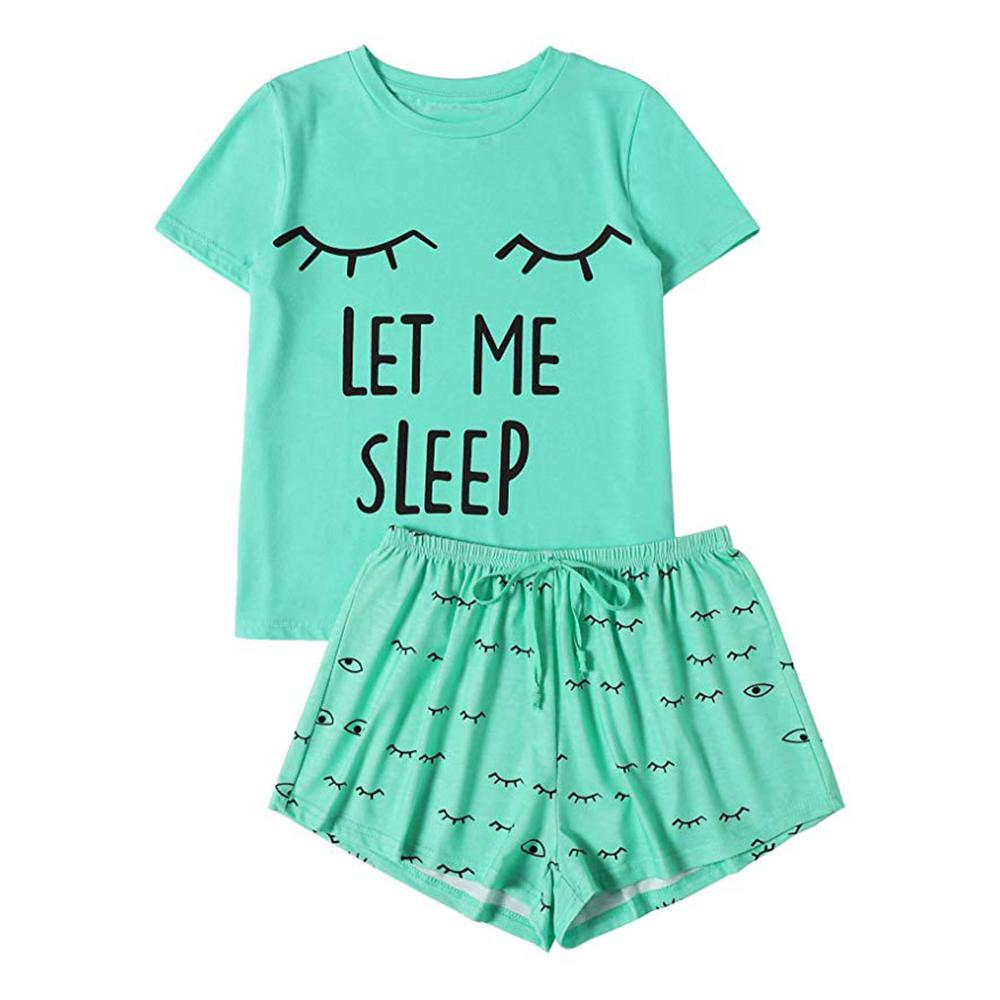 Womens Pajamas T-Shirt Nightwear-Set Sleepwear Short-Sleeve Cotton Femme Print Mujer title=