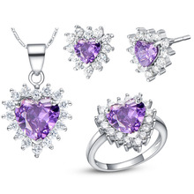 NEW set of 925 sets of sterling silver custom set of high-end European and American marine heart purple suit genuine 925 silver inlay and nephrite jade white set of two sets of ring jewelry set of jade sets