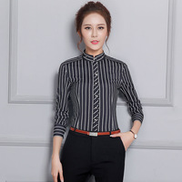 Winter New Pattern Strips Grain Women's Occupation Long Sleeve Shirt Business Affairs Self cultivation Li Lead