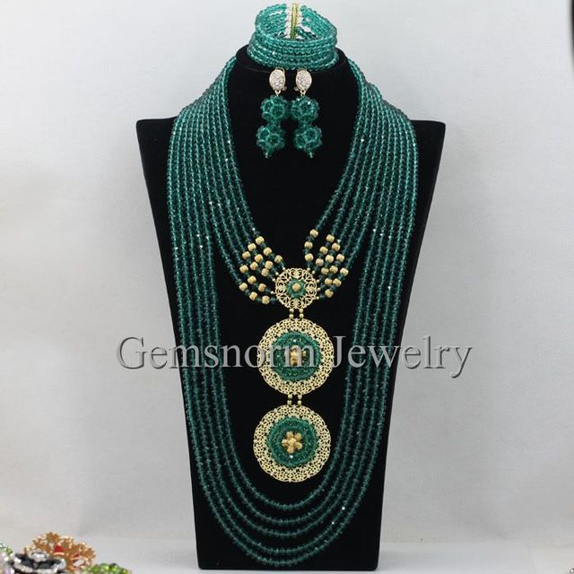 Hesiod Indian Wedding Jewelry Sets Gold Color Full Crystal: 26inches Long Dark Army Green Nigerian Wedding African