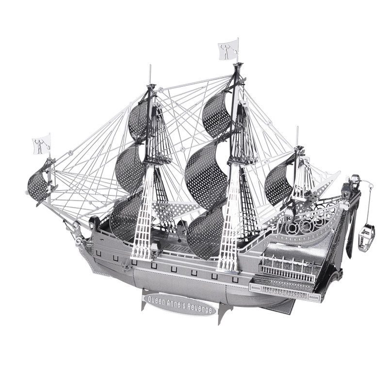 Piececool 3D Metal Puzzle Figure Toy The Queen Anne Revenge P038-S Educational Puzzle 3D Models Funny Gifts Toys For Children queen s day the netherlands gifts