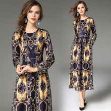 New Women's clothing 2017 high-end temperament long sleeve fashion printing long dress vestidos