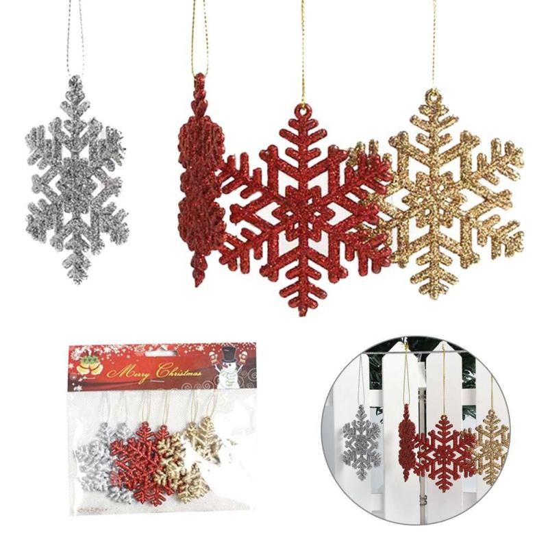 Christmas Tree Ornament Snowflakes Xmas Tree Hanging Pendant Happy New Year Party Suppli ...