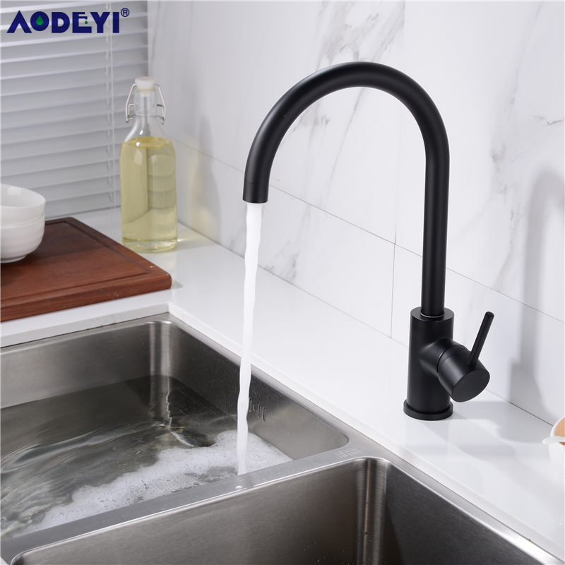 Promotion Solid 304 Stainless Steel Hot And Cold Kitchen Faucet Sink Mixer Tap With Aerator Sink Faucet Brushed Nickel/Black