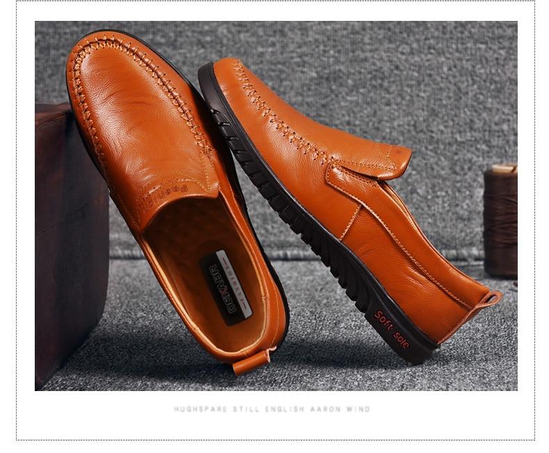 HTB1pBeZc56guuRkSnb4q6zu4XXac DEKABR Men Shoes Genuine leather Comfortable Men Casual Shoes Footwear Chaussures Flats Men Slip On Lazy Shoes Zapatos Hombre