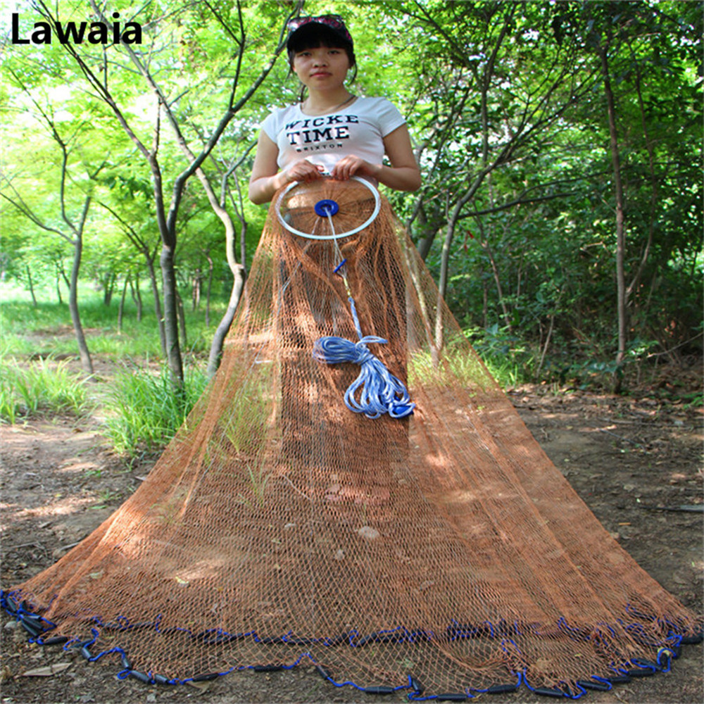 Lawaia Fishing Nets New ECO Pendant Throw The Tire Line Fishing Network With Ring Cast Fishing Tire Cord Mesh Diameter 2.4m 7.2m-in Fishing Net from Sports & Entertainment    1