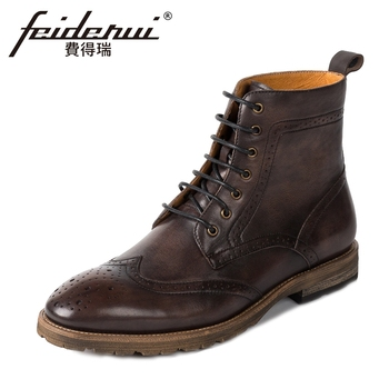 New Arrival Genuine Leather Men's High-Top Ankle Boots British Style Handmade Cowboy Riding Wingtip Brogue Shoes For Man KUD54