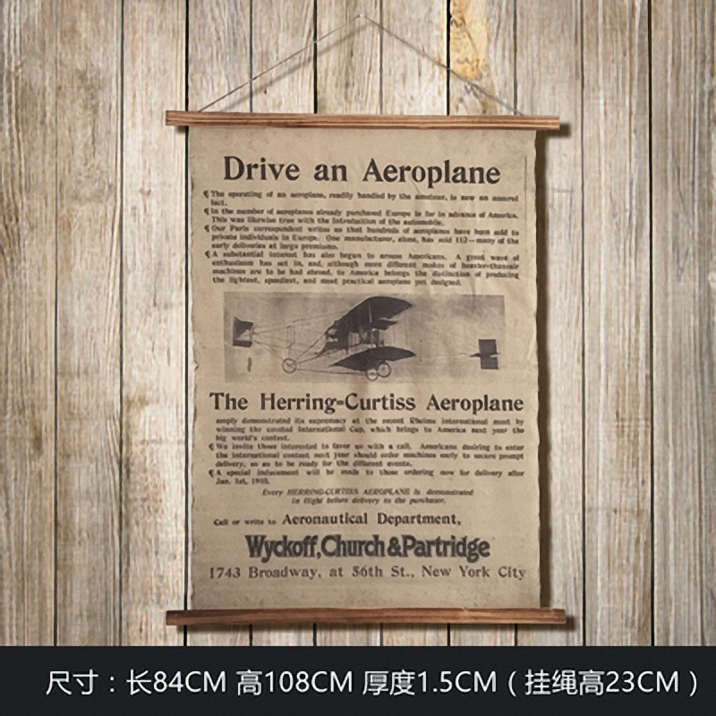 Large Retro Drive an Aeroplan Linen Cloth Painting Scrolls Poster Mural Paintings Banners Hanging Art Office Loft Ornament Wall