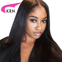 KRN 180 Density Pre Plucked Lace Front Human Hair Wigs With Baby Hair 13X3 Straight Remy Hair Glueless Lace Wigs Bleached Knots