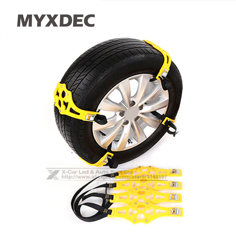 4Pcs/Lot Universal TPU Snow Chains Car Suit 165-265mm Tyre Winter Roadway Safety Tire Chains Snow Climbing Mud Ground Anti Slip