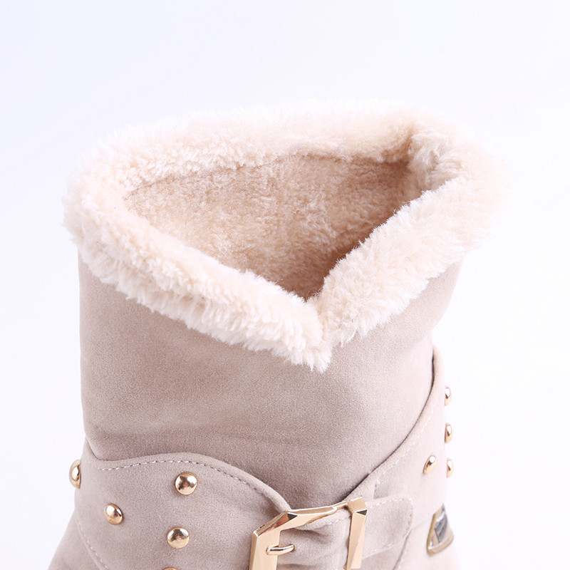 d9d161b61a6e Faux Fur Snow Boots Women Fashion Ankle Boots Plus Size Black Winter Warm  Plush Boots Female Ladies Flats Shoes Dropshipping-in Ankle Boots from Shoes  on ...