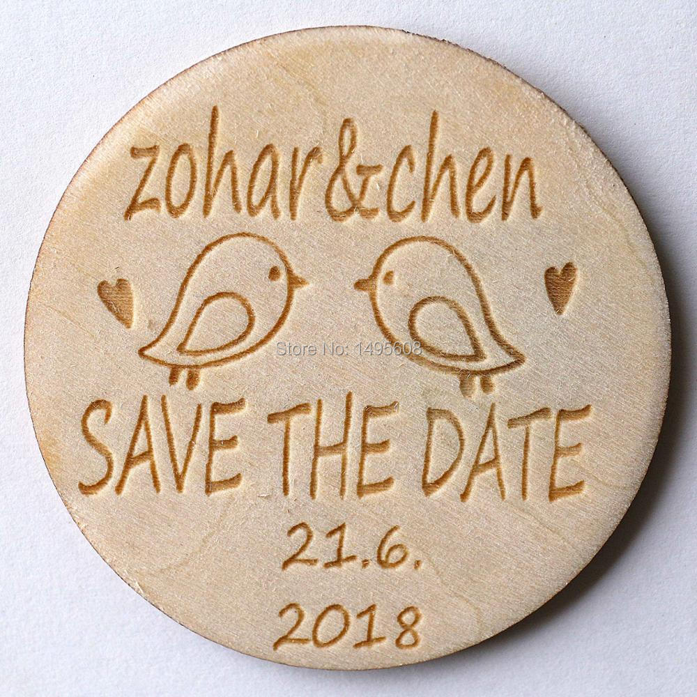 Personalized Wooden Save the Date Magnets, Rustic Wooden Magnets ...