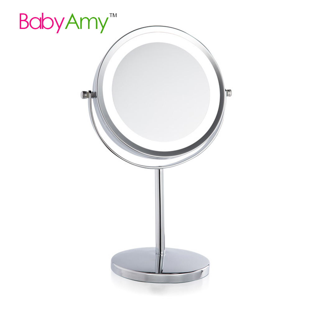 7 inch led cosmetic mirror with light 13x stainless steel chrome makeup mirror with