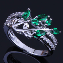 Excellent Plant Green Cubic Zirconia White CZ 925 Sterling Silver Ring For Women V0435