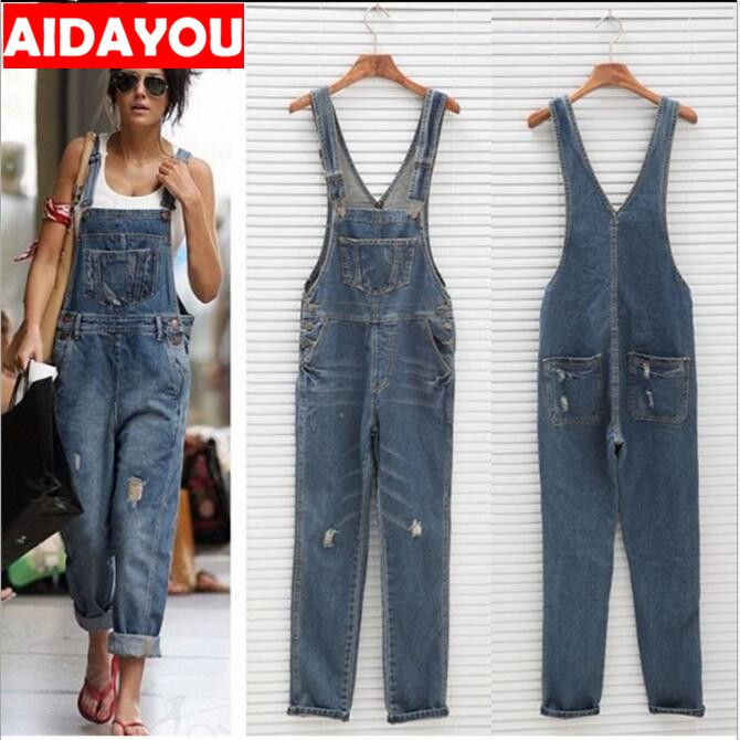Womens Rompers Baggy Denim   Jeans   Ladies' High Waist hole   Jeans   and overalls ouc423
