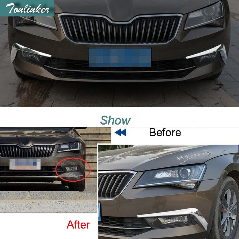 Tonlinker Cover Case Stickers for SKODA SUPERB 2016-17 Car Styling 2 PCS ABS Chrome front fog light exterior cover case sticker 2pcs chrome car styling exterior abs front