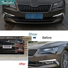 Tonlinker Cover Case Stickers for SKODA SUPERB 2016-17 Car Styling 2 PCS ABS Chrome front fog light exterior cover case sticker