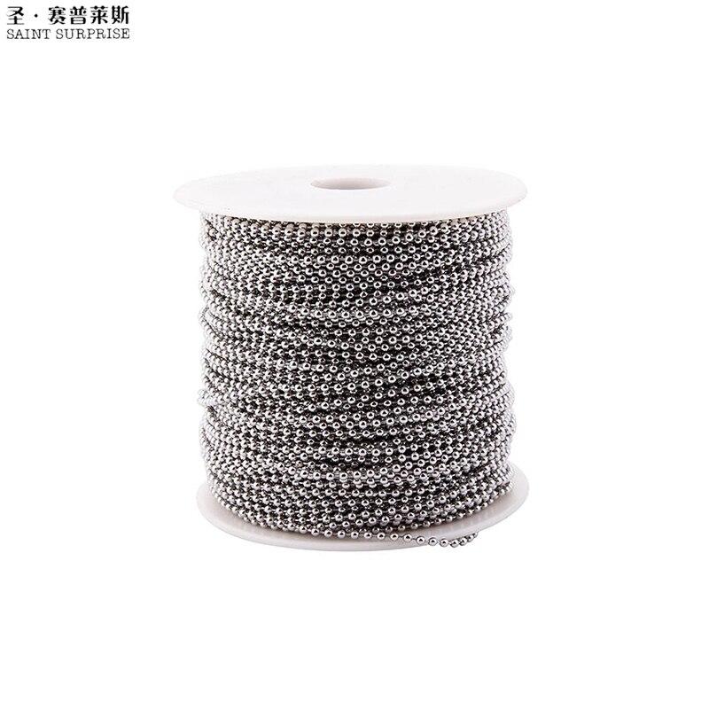 Bobine de chaîne de boule de perle d'acier inoxydable de 300 pieds 2.4mm pour le bricolage de bijoux faisant des accessoires d'étiquette de chien