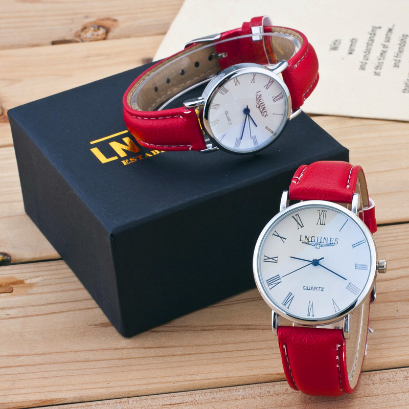 2pc Fashion Couple Watches Popular Woman Man Casual Leather Quartz Watch And Box Minimalism Lover's Gift Clock Student Clock
