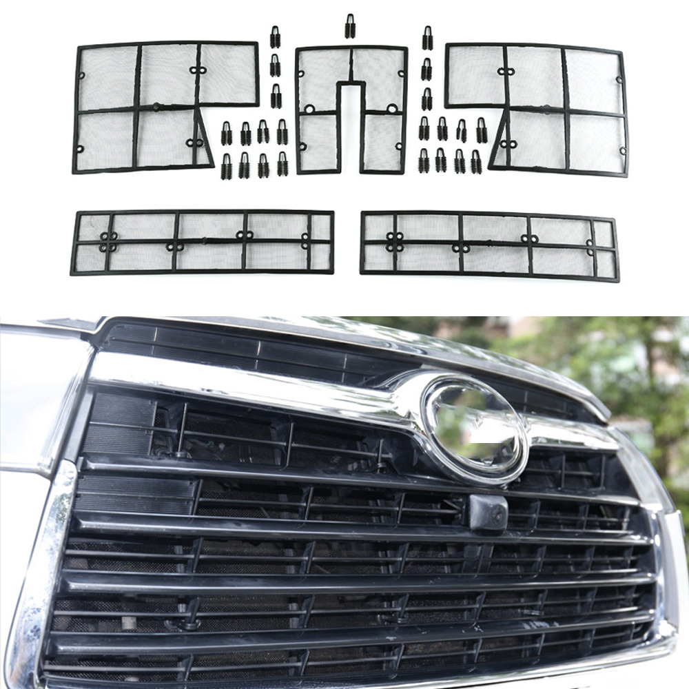 5PCS Car Insect Screening Mesh Front Grille Insert Net For Toyota Highlander Kluger 2014 2015 2016 Accessories