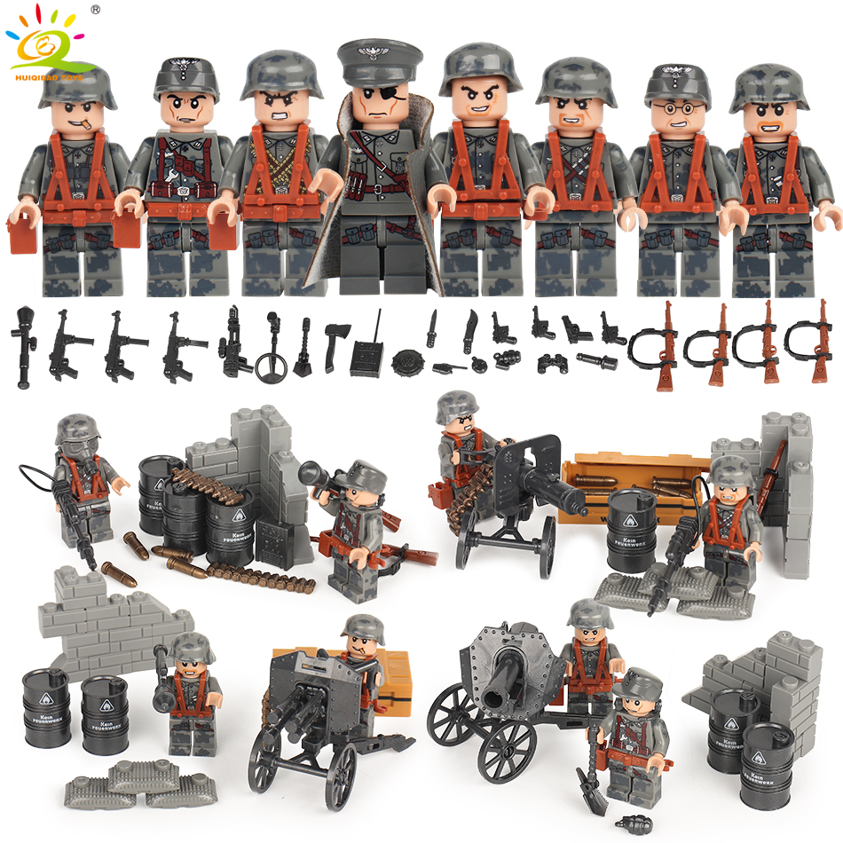 8pcs Military WW2 German Soldiers with Weapons Bricks set Compatible Legoed Army Gun City DIY Building Blocks Toys for children