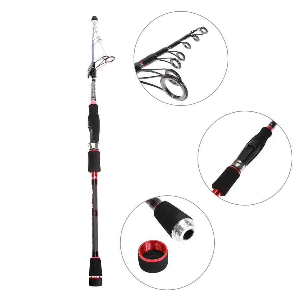 Mini Fishing Rods Portable 1.95m 100%Carbon Telescopic Rod Sea Saltwater Lure Fishing Tackle with 6pc Guide ring Black Cloth Bag