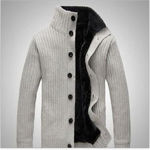 Fashion Sweater Men Stand collar pull homme long sleeve Casual Knitted Sweater Man plus thick Cardigan Sweater