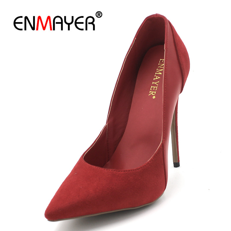 ENMAYER Sexy Red Pointed Toe Spring&Autumn Pumps Shoes Woman High Heels Slip-on Womens Pumps Shoe Shallow spring autumn shoes woman pointed toe metal buckle shallow 11 plus size thick heels shoes sexy career super high heel shoes