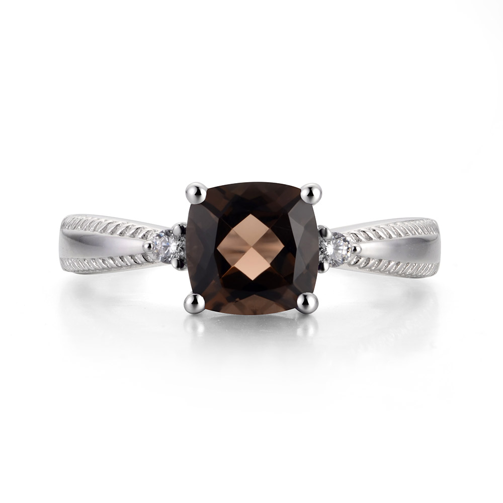 Leige Jewelry Natural Brown Color Smoky Quartz Gemstone Cushion Shape Prong Setting Career Rings With Stone 925 Sterling Silver