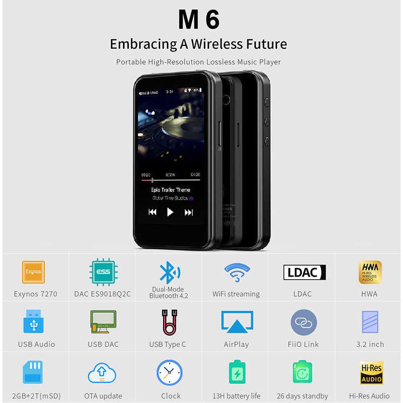 FiiO M6 Hi-Res Bluetooth HiFi музыкальный портативный MP3-плеер USB DAC ES9018Q2C на базе Android с aptX HD LDAC WiFi Air Play DSD