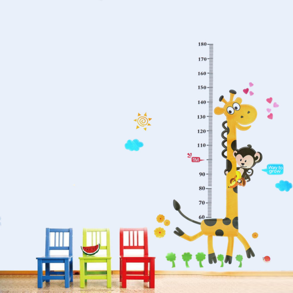 Children Kid Height Measurement Growth Chart Wall Sticker Cartoon Giraffe Animal