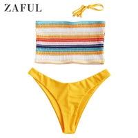 ZAFUL Smocked Bikini Set Bandeau Swimwear Women Swimsuit Shirred Sexy Low Waist Strapless Colorful Bathing Suit Striped Bikinis