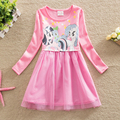 Children Clothing Baby Girls Dress Long Sleeve New 2016 Autumn Casual Dress Lovely Cartoon Little Pony Party Dress