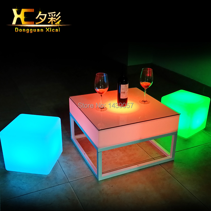 LED Outdoor Coffee End Table Plastic Dining Tables Cube Furniture For Bar Club Garden Party Ceremony Picnic Camping Resturant led luminous bar table plastic color changing coffee dining room garden drinking tables